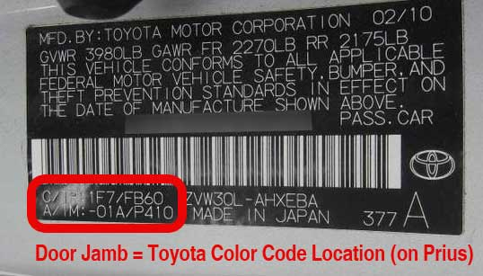 Location of Toyota paint code in the door jamb of a Prius