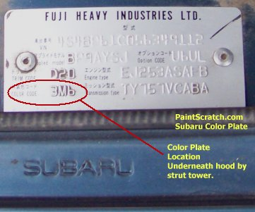 Subaru Touch Up Paint Color Plate