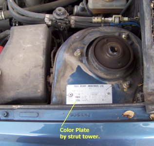 Subaru Touch Up Paint Color Plate Location