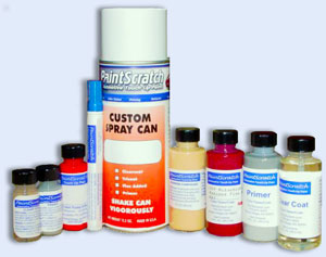 Picture of automotive touch up paint bottles, paint pen, spray can, and other auto paint products from PaintScratch.com